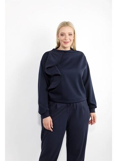 Luokk Pılar Dik Yaka Volan Detaylı Kadın Sweatshirt Lacivert
